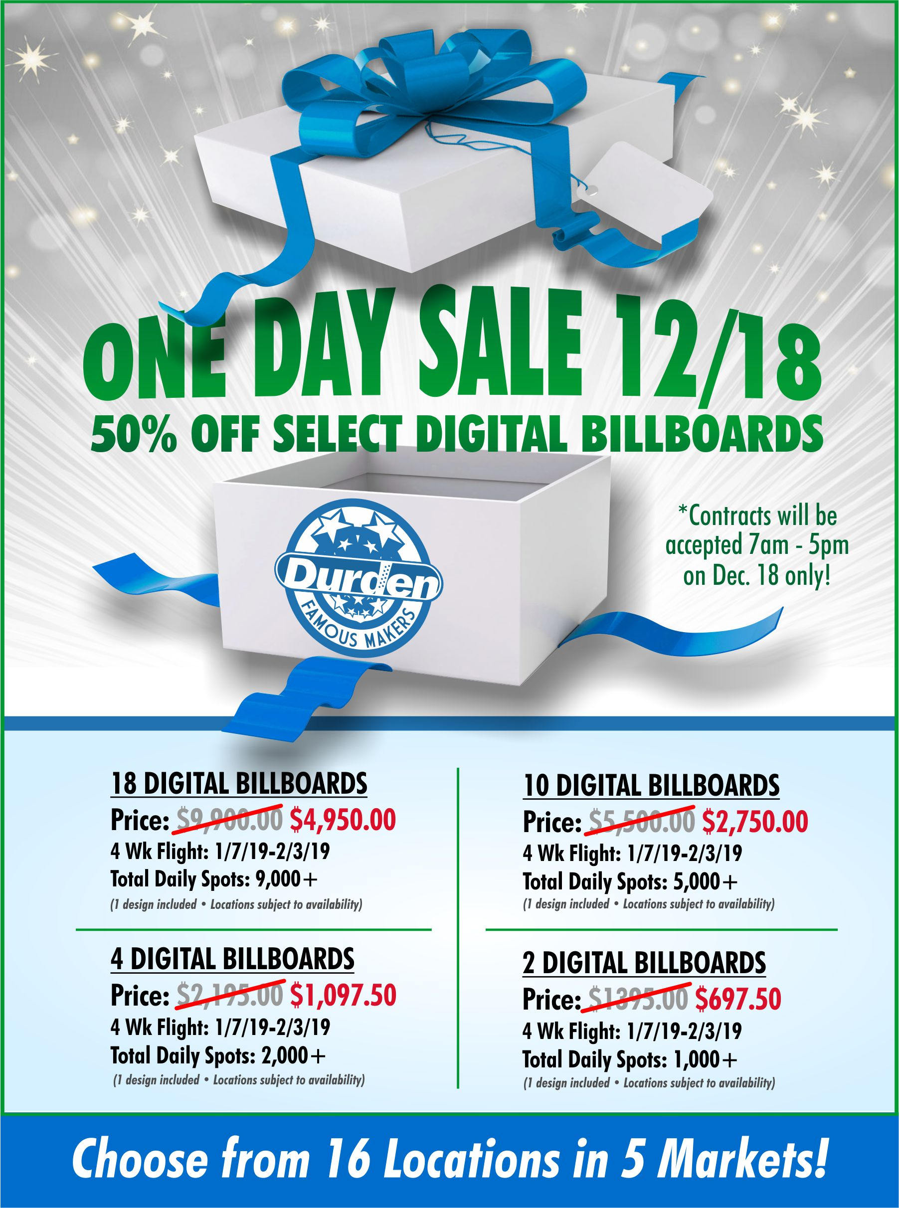 One Day Sale 12/18 50% Off Billboards